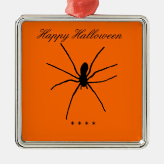 Black Spider Template Square Metal Christmas Ornament
