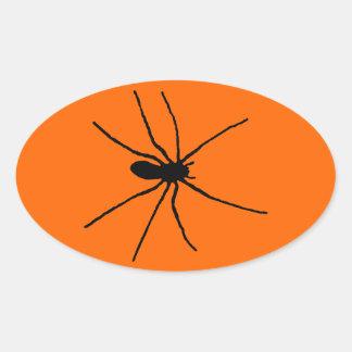 Black Spider Template Oval Sticker