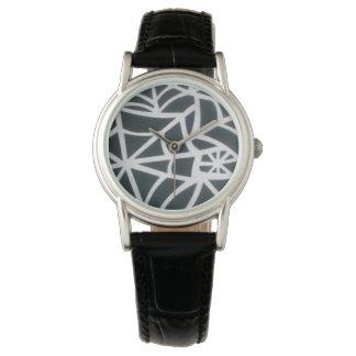 Black Spider Web Black Leather Wrist Watch Design