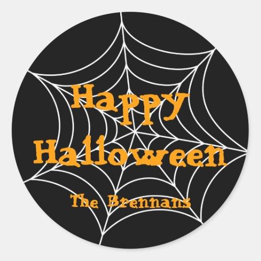 Black spider web halloween custom label gift tag classic round sticker