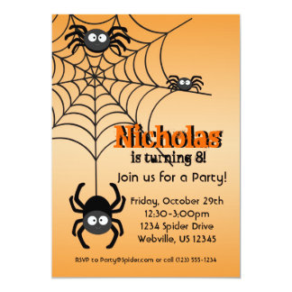 Black Spider Web Orange Hallowen Party Invite