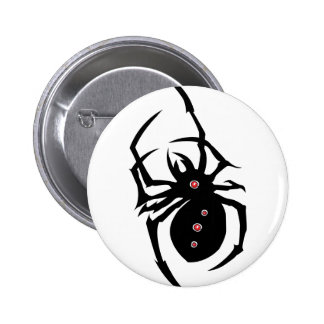 Black spider with red dots button. button