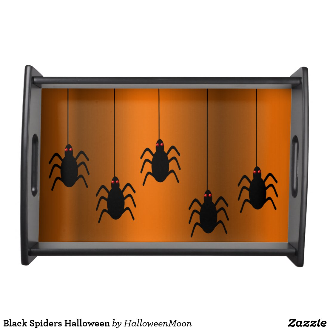 Black Spiders Halloween Serving Tray