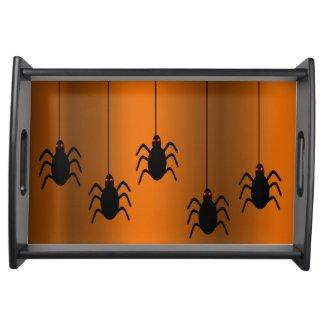 Black Spiders Halloween Serving Tray