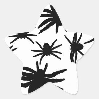 Black Spiders Pattern Star Sticker