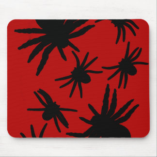 Black Spiders With Red Background Mouse Pad
