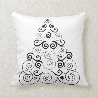 Black, spiral Christmas tree, white throw pillow. Pillows
