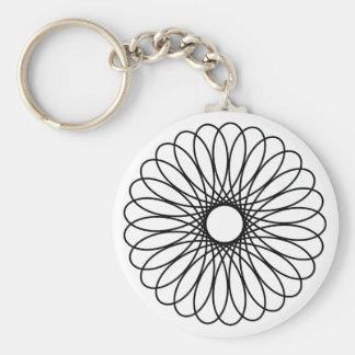 Black Spirograph Basic Round Button Keychain