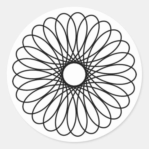 Black Spirograph Round Stickers