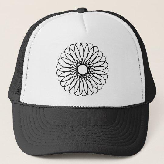 Black Spirograph Trucker Hat