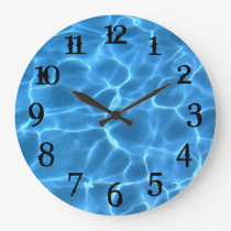 Black Splash Numbers Aqua Blue Swimming Pool Large Clock