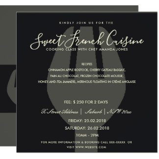BLACK SPOON FORK COOKING CLASS INVITE TEMPLATE