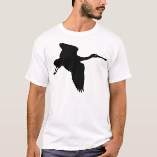 Black Spoonbill Bird In Flight T-Shirt