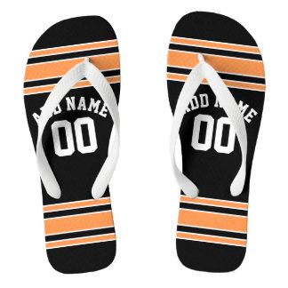Black Sports Jersey Custom Name Number Flip Flops