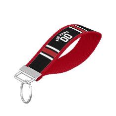 Black Sports Jersey Custom Name Number Wrist Keychain at Zazzle
