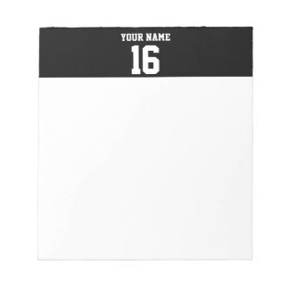 Black Sporty Team Jersey Notepad