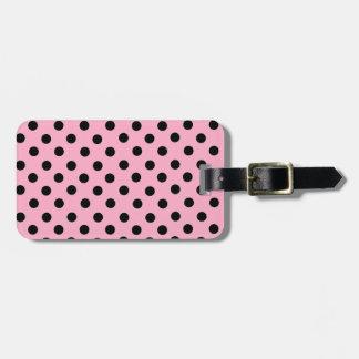 Black Spot Polka Dot On Pink Luggage Tag