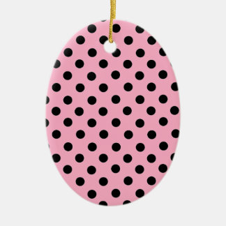 Black Spot Polka Dot On Pink Christmas Tree Ornament