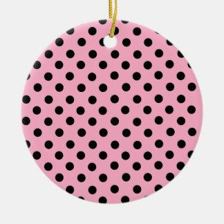 Black Spot Polka Dot On Pink Ornaments
