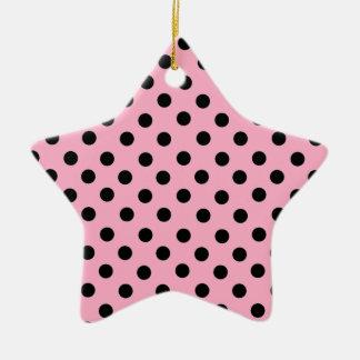 Black Spot Polka Dot On Pink Christmas Ornaments