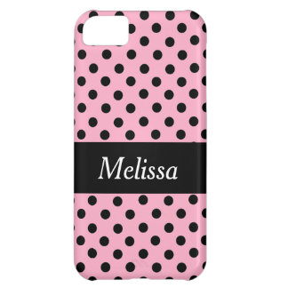 Black Spot Polka Dot On Pink Personalized Case iPhone 5C Cases