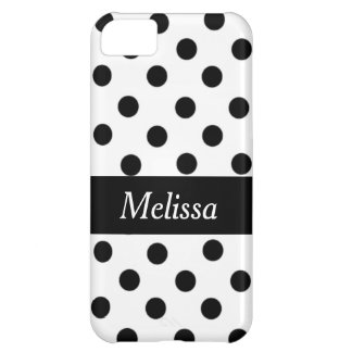 Black Spot Polka Dot On White Personalized Case iPhone 5C Cases