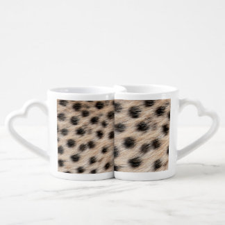 black spotted Cheetah fur or Skin Texture Template Coffee Mug Set