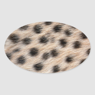 black spotted Cheetah fur or Skin Texture Template Oval Stickers