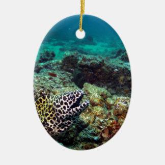 Black spotted moray eel ceramic ornament