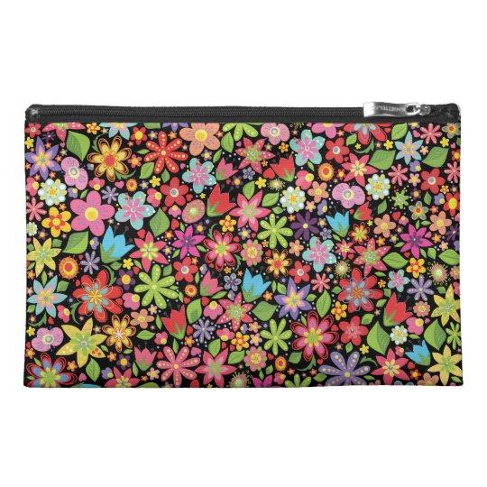 Black Spring Flowers Pattern Designer Make Up Bag! Travel Accessory Bag