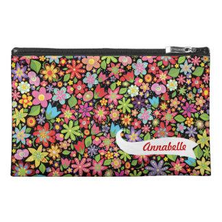 Black Spring Flowers Pattern Designer Name Bag! Travel Accessories Bags