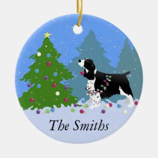 Black Springer Spaniel Decorating Christmas Tree Ceramic Ornament