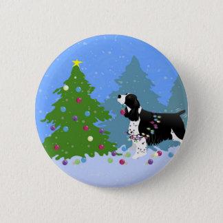 Black Springer Spaniel Decorating Christmas Tree Pinback Button