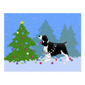 Black Springer Spaniel Decorating Christmas Tree Postcard