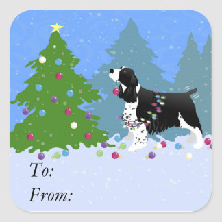Black Springer Spaniel Decorating Christmas Tree Square Sticker