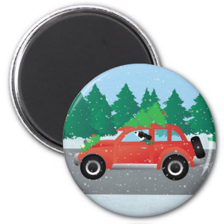 Black Springer Spaniel Dog - Car with Tree on Top 2 Inch Round Magnet