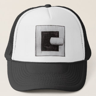 Black square and a white tube-shaped by Kazimir Trucker Hat