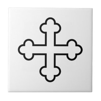 black square apostles cross or budded cross tile