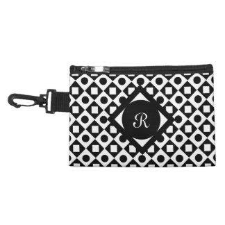 Black Square Diamond Circle Monogram pattern Accessories Bag