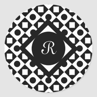 Black Square Diamond Circle Monogram pattern Classic Round Sticker