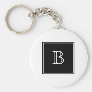 Black Square Monogram Basic Keychain