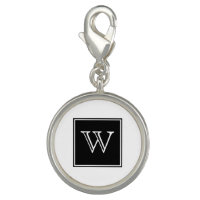 Black Square Monogram Charm