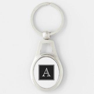 Black Square Monogram Metal Keychain