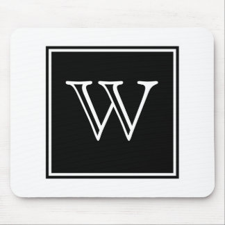 Black Square Monogram Mousepad