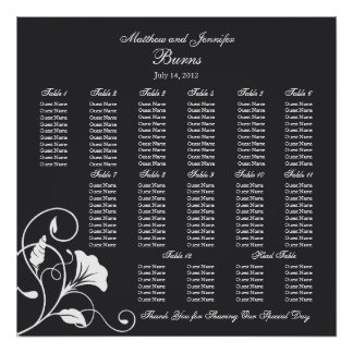 Black Square Wedding Reception Seating Chart Poster
