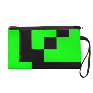 Black Squares on Lime Green Wristlet Purse