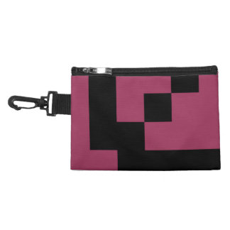 Black Squares on Sangria Pink Accessory Bag