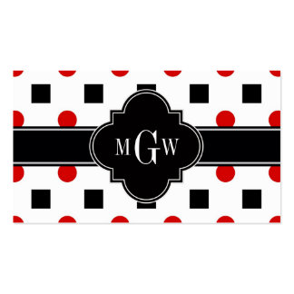 Black Squares Red Dots Black Quatrefoil 3 Monogram Double-Sided Standard Business Cards (Pack Of 100)