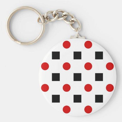Black Squares Red Polka Dots Pattern White BG Key Chain