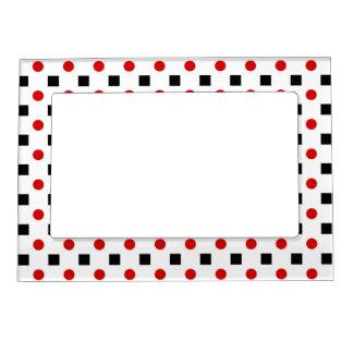 Black Squares Red Polka Dots Pattern White BG Magnetic Photo Frame